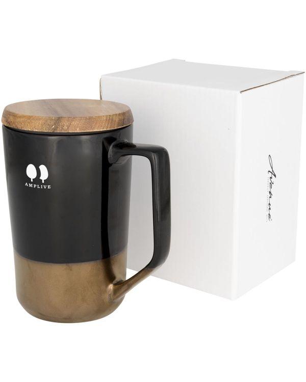 Tahoe 470ml Keramische Thee Of Koffiemok Met Houten Deksel