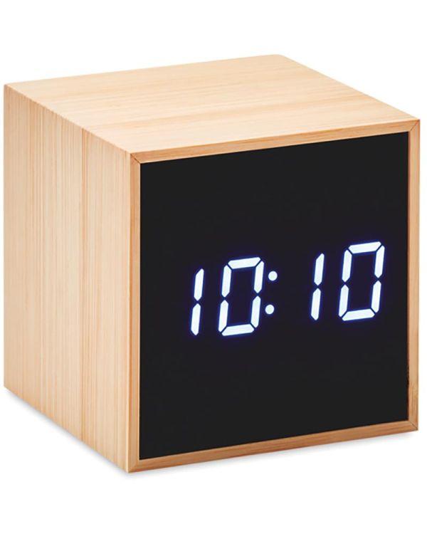Mara Clock Bamboe Klok Vierkant Met Led