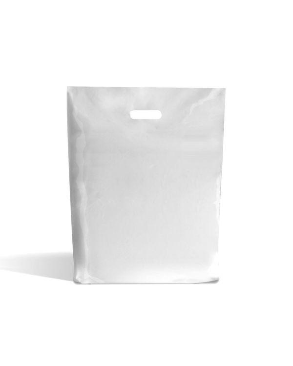 Witte draagtas met uitgestanste handgreep 15 x 18 x 3